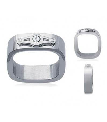 Bague acier anneau rectangulaire stylisé
