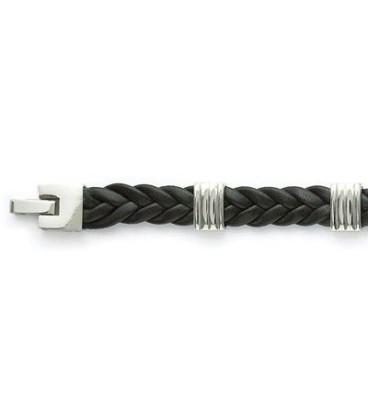 Bracelet homme en cuir noir tressé bagué acier