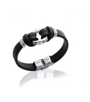 Bracelet en cuir noir et acier très mode