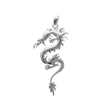 Pendentif dragon chinois argent massif