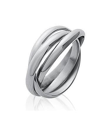 Bague anneaux acier entrelacés