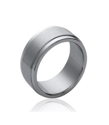 Bague homme acier brossé superposition d'anneaux