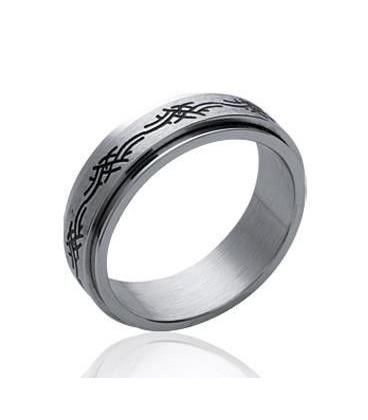 Bague homme acier style alliance double anneaux mobiles Romaine motif inspiration tribal