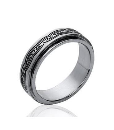 Bague acier homme double anneaux mobiles alliance tribal Romaine.
