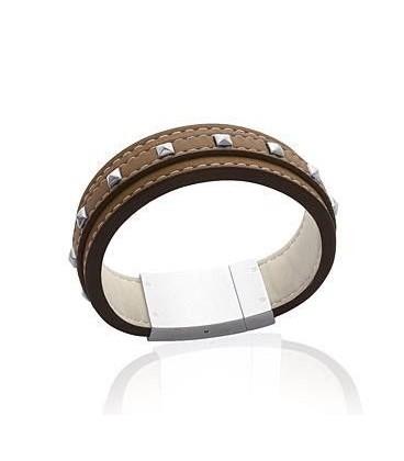Beau bracelet cuir brun clair