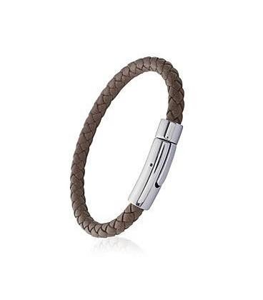 Bracelet en cuir gold homme tressé rond fermoir acier