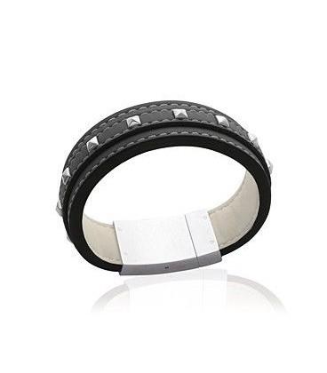 Beau bracelet de cuir noir superposition de cuir surpiqué clouté