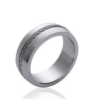 Bague acier homme anneau bombé avec cable torsadé