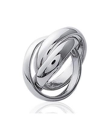 Alliance bague homme et femme trois beaux anneaux entrelacés en argent massif