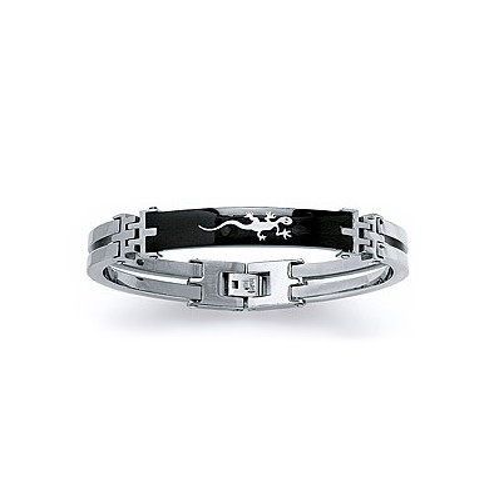 Bracelet homme acier en ruthénium motif salamandre style menottes