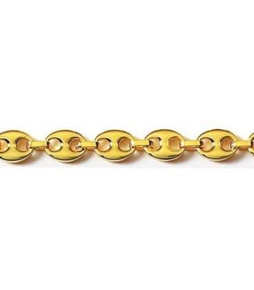 Gros bracelet homme chaîne grains de café plaqué or