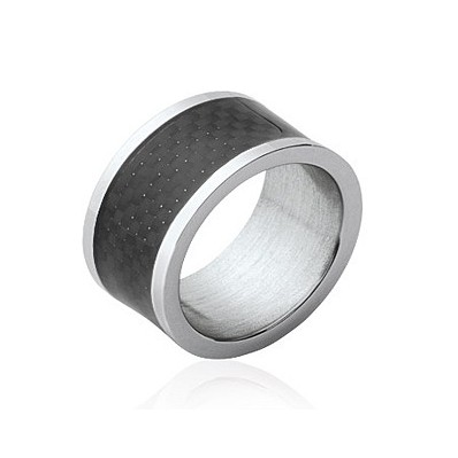 Bague bicolore tube plate anneau acier