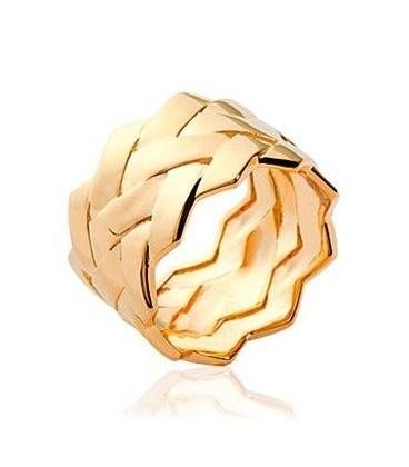 Bague plaqué or bel anneau design tressé