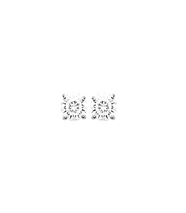 Boucles d'oreilles argent massif zirconium taillé carré griffé