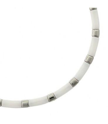 Beau collier acier céramique blanche