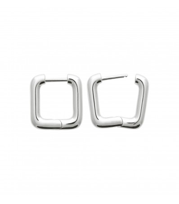 Boucles d'oreille créole argent carrée articulée